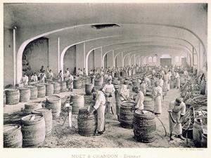 Constructing the Barrels, from 'Le France Vinicole', Pub. by Moet and Chandon, Epernay by E.M. Choque