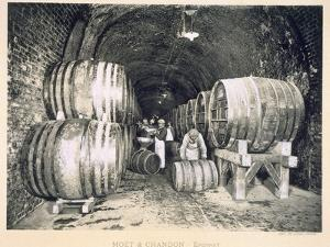 Pouring the Wine into the Barrels, from 'Le France Vinicole', Pub. by Moet and Chandon, Epernay by E.M. Choque