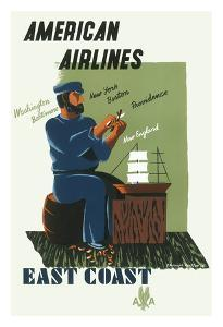 East Coast - Washington, Baltimore, New York, Boston, Providence, New England - American Airlines by E. McKnight Kauffer