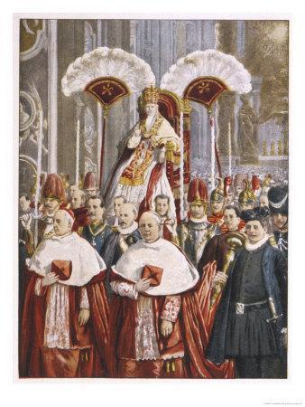Pope Leo XIII (Gioacchino Vincenzo Raffaelle Luigi Pecci) Borne in Procession in St. Peter's Rome