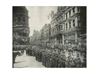'The Royal Procession: Passing the Eastern End of Cheapside', London, 1897