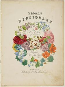 Frontispiece and Title Page, Wreath of Flowers, from Flora's Dictionary, 1838 by E. W. Wirt