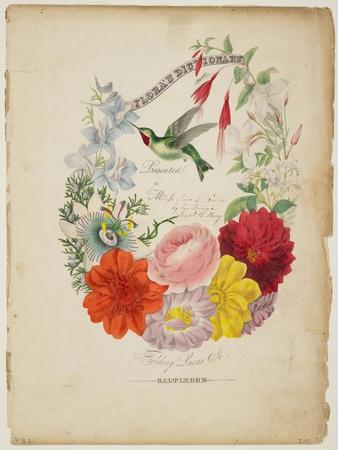 Presentation Page, Flower Garland and Humming Bird, from Flora's Dictionary, 1838
