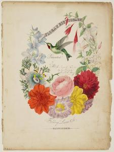 Presentation Page, Flower Garland and Humming Bird, from Flora's Dictionary, 1838 by E. W. Wirt