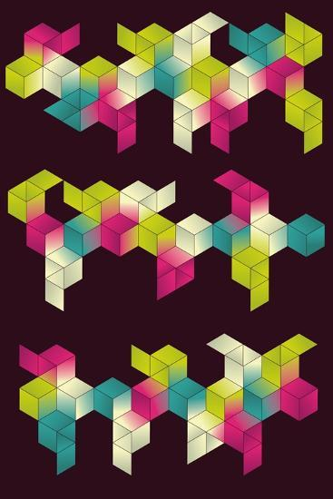 Each Grouping of Cubes and Background are on Separate Layers. Simple Gradients are Used for Color.- Transfuchsian-Art Print