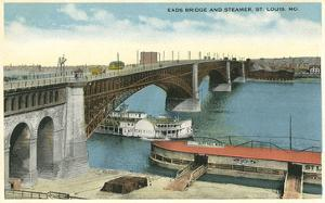 Eads Bridge and Riverboat, St. Louis