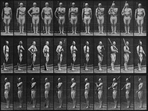 Album sur la décomposition du mouvement : Animal Locomotion : homme au fusil by Eadweard Muybridge