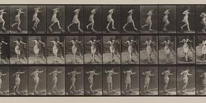 Plate Number 175. Crossing brook on step-stones with fishing-pole and can, 1887 by Eadweard Muybridge