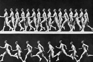 Sequential Frames of Nude Man Walking and Running by Eadweard Muybridge