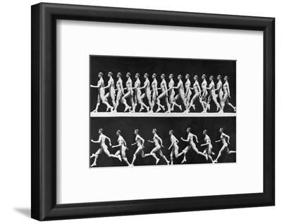Sequential Frames of Nude Man Walking and Running