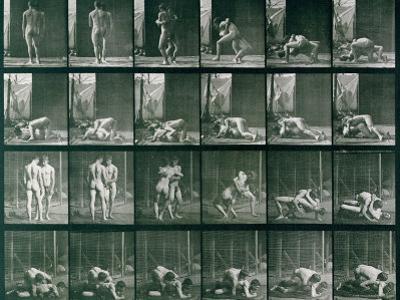 Two Men Wrestling, Plate 346 from Animal Locomotion, 1887 by Eadweard Muybridge