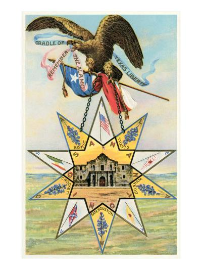 Eagle, Alamo in Star, Texas Liberty--Art Print