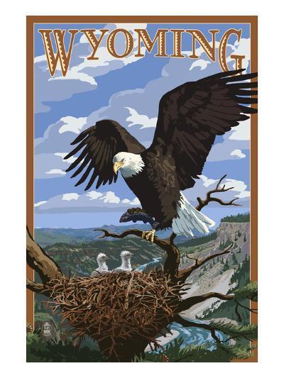 Eagle and Chicks - Wyoming-Lantern Press-Art Print