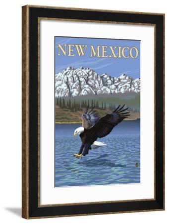 Eagle Diving - New Mexico-Lantern Press-Framed Art Print