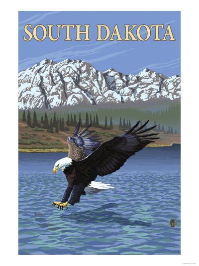 Eagle Diving - South Dakota-Lantern Press-Art Print