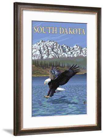 Eagle Diving - South Dakota-Lantern Press-Framed Art Print