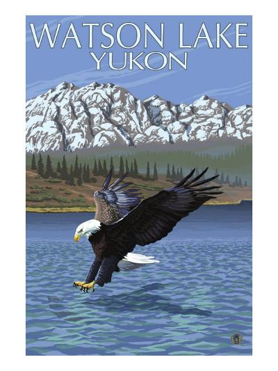 Eagle Fishing, Watson Lake, Yukon-Lantern Press-Art Print