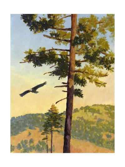 Eagle Flying by a Tree--Art Print