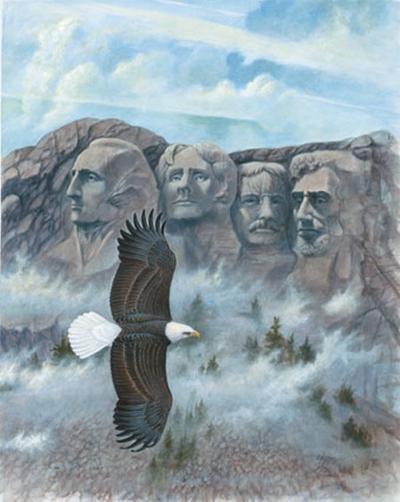 Eagle over Mount Rushmore--Art Print