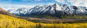 Eagle River Valley with Hurdygurdy Mountain in the background, Chugach National Park, Alaska, USA