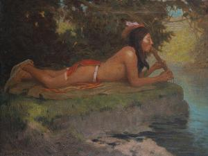 Indian Playing Flute by Eanger Irving Couse