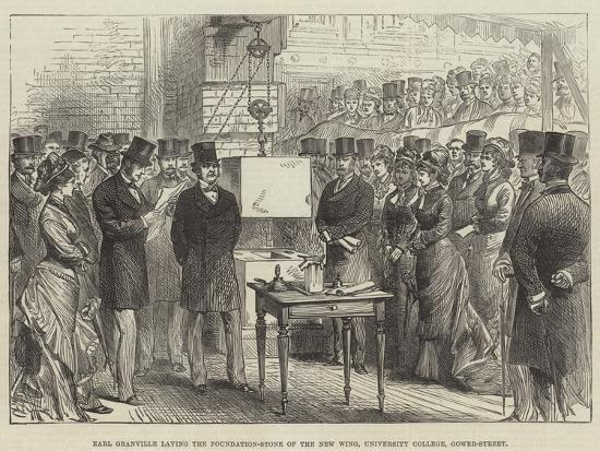 Earl Granville Laying the Foundation-Stone of the New Wing, University College, Gower-Street--Giclee Print