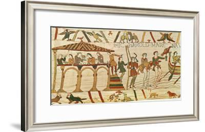 Earl Harold Dines and Then Sets Sail, Detail from the Bayeux Tapestry, Before 1082--Framed Giclee Print