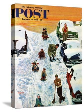 """""""Sledding and Digging Out,"""" Saturday Evening Post Cover, January 28, 1961"""