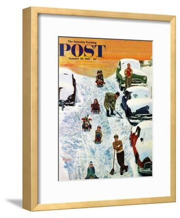 """Sledding and Digging Out,"" Saturday Evening Post Cover, January 28, 1961"