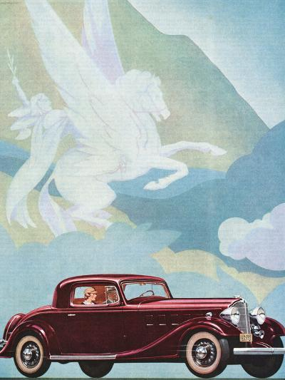 Early Advertising of Buick Automobile with Pegasus Overhead--Photographic Print