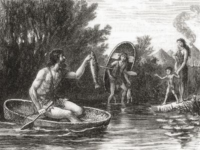 Early Briton Fishing from a Coracle--Giclee Print