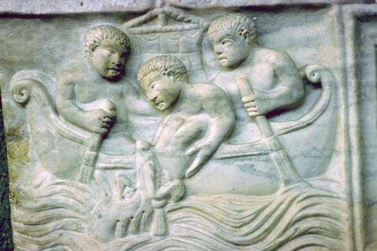 Early Christian depiction of Jonah and the Whale on a sarcophagus, 4th century. Artist: Unknown-Unknown-Giclee Print