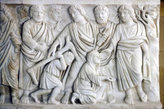 Early Christian Sarcophagus of Christ healing the sick, 4th century-Unknown-Giclee Print