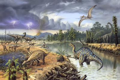 Early Cretaceous Life, Artwork-Richard Bizley-Photographic Print