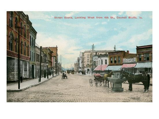 Early Downtown Council Bluffs, Iowa--Art Print