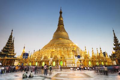 Early Evening at Shwedagon Pagoda, Yangon (Rangoon), Myanmar (Burma), Asia-Jordan Banks-Photographic Print