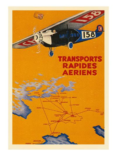 Early French Air Routes, Monoplane--Art Print
