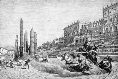 Early History of Rome, Messalina Falls from Her Chariot During a Race at Circus Maximus-Ludovico Pogliaghi-Giclee Print