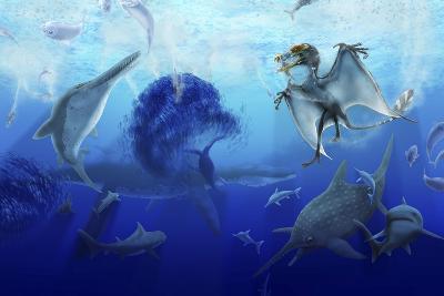 Early Jurassic European Pelagic Scene with Various Extinct Animals-Stocktrek Images-Art Print