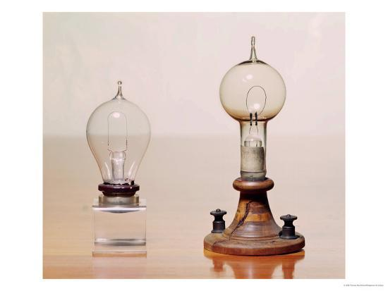 Early Light Bulbs Left First Commercial Bulb Right Electric Filament Lamp 1879 Giclee Print By Art