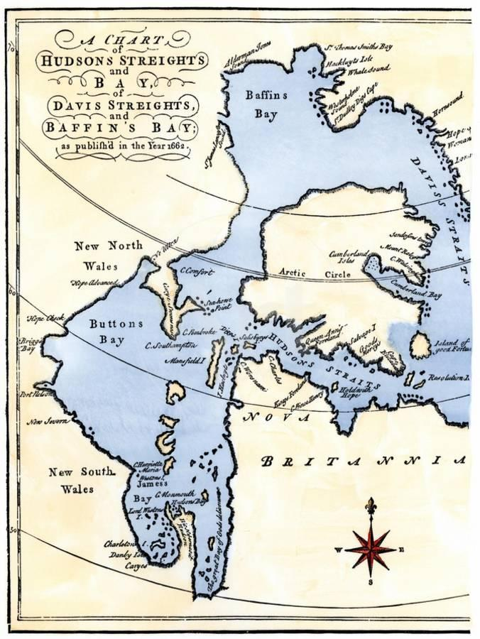 Early Map of Hudson's Strait and Hudson's Bay, 1662, in Arctic Canada  Giclee Print by | Art com