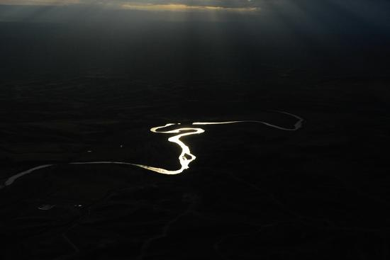 Early Morning Aerial of the Powder River-Michael Forsberg-Photographic Print