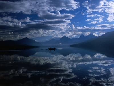 Early Morning Boating in Reflected Sea of Clouds, Lake Mcdonald, Glacier National Park, Montana-Gareth McCormack-Photographic Print