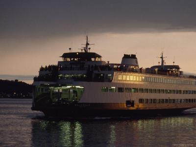Early Morning Ferry Leaves Seattle, Washington for Bainbridge Island-Phil Schermeister-Photographic Print