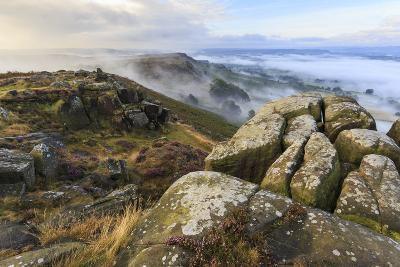 Early Morning Fog, Curbar Edge with View to Baslow Edge, Peak District National Park-Eleanor Scriven-Photographic Print