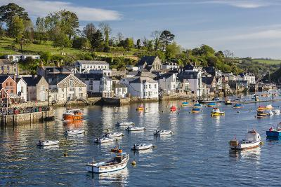 Early Morning Light on Small Boats at Anchor in the Harbour at Fowey, Cornwall, England-Michael Nolan-Photographic Print