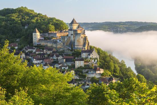 Early Morning Mist, Chateau De Castelnaud, Castelnaud, Dordogne, Aquitaine, France-Peter Adams-Photographic Print