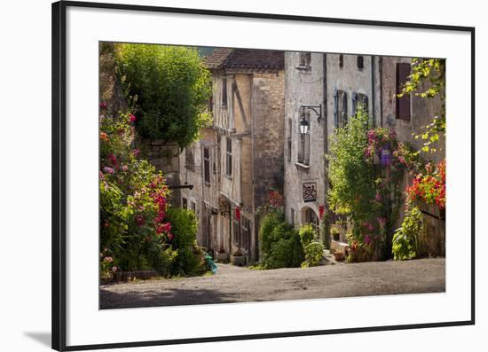 Early Morning Street View, Saint-Cirq-Lapopie, Midi-Pyrenees, France-Brian Jannsen-Framed Photographic Print