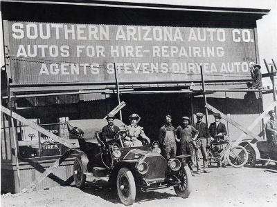 Early Motor Car and Garage, Southern Arizona, C.1910--Photographic Print