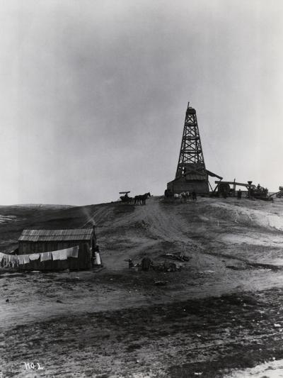 Early Oil Drilling Operation--Photographic Print